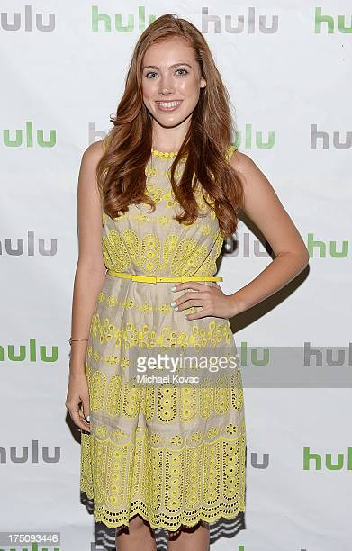 Actress Alexia Dox speaks onstage during the 'Quick Draw' portion of the Hulu 2013 Summer TCA Tour at The Beverly Hilton Hotel on July 31 2013 in...