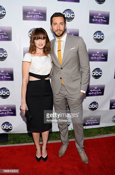 Actress Alexis Bledel and actor Zachary Levi arrive at the Disney ABC Television and The Hallmark Hall of Fame's premiere of 'Remembering Sunday' at...