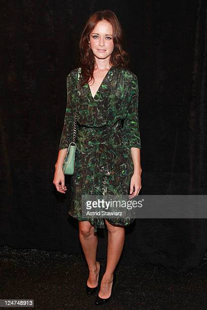 Actress Alexis Bledel poses backstage with TRESemme at Rebecca Minkoff during Spring 2012 MercedesBenz Fashion Week at The Studio at Lincoln Center...