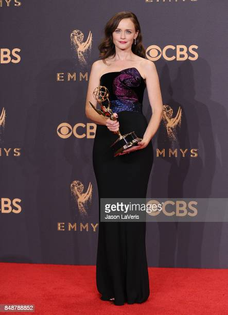 Actress Alexis Bledel poses in the press room at the 69th annual Primetime Emmy Awards at Microsoft Theater on September 17 2017 in Los Angeles...