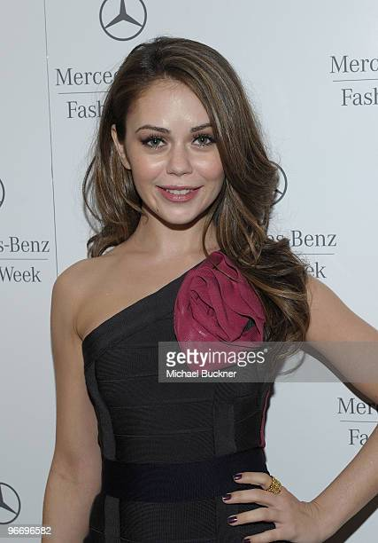Actress Alexis Dziena attend the MercedesBenz Fashion Week Fall 2010 Official Coverage at Bryant Park on February 14 2010 in New York City