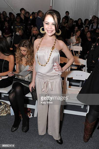 Actress Alexis Dziena attends MercedesBenz Fashion Week at Bryant Park on February 14 2010 in New York New York