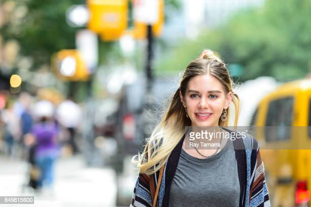 Actress Alexis Dziena leaves her hotel on September 19 2017 in New York City