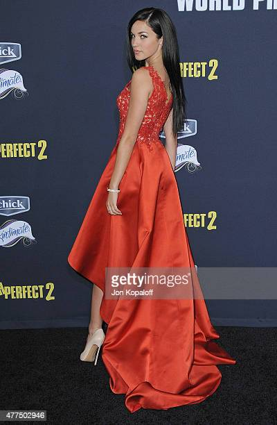 Actress Alexis Knapp arrives at the Los Angeles Premiere 'Pitch Perfect 2' at Nokia Theatre LA Live on May 8 2015 in Los Angeles California