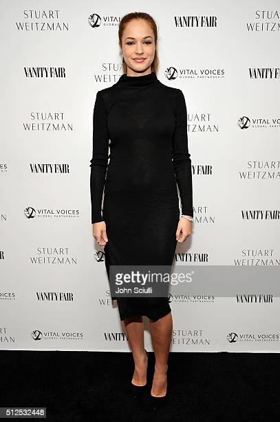 Actress Alexis Knapp attends the Vanity Fair and Stuart Weitzman Luncheon to celebrate Elizabeth Banks at AOC on February 26 2016 in Los Angeles...