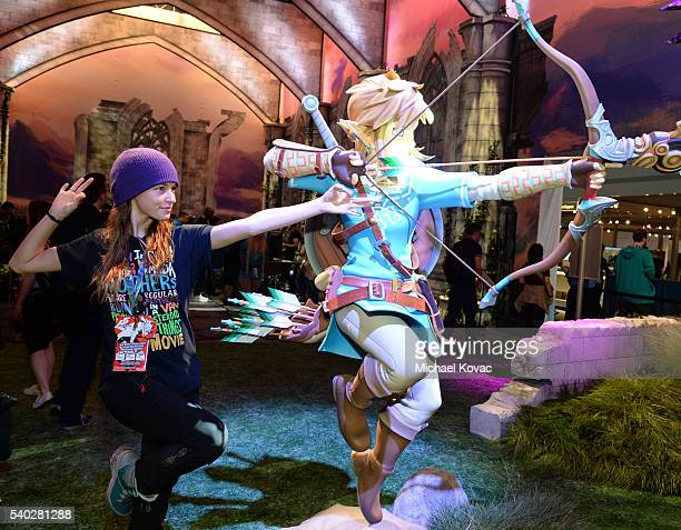 Actress Alexis Knapp visits the Nintendo booth at the 2016 E3 Gaming Convention at Los Angeles Convention Center on June 14 2016 in Los Angeles CA