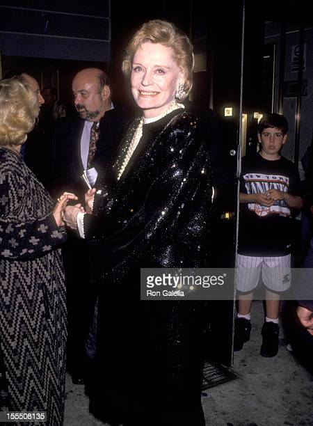 Actress Alexis Smith attends The Will Rogers Follies Opening Night Performance on May 1 1991 at the Palace Theatre in New York City