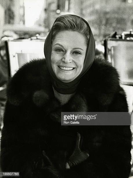 Actress Alexis Smith sighted on location filming One Is Not Enough on April 9 1974 in New York City