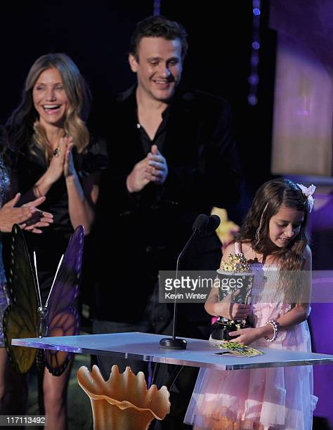 Actress Alexys Nycole Sanchez accepts the Best Line From A Movie award from actors Cameron Diaz and Jason Segel onstage during the 2011 MTV Movie...