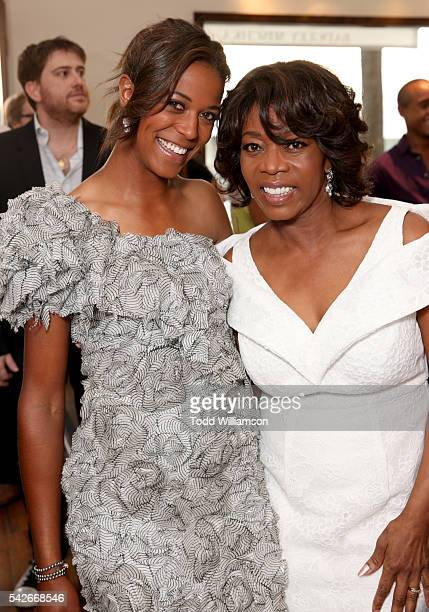 Actress Alfre Woodard and daughter Mavis Spencer attend the Badgley Mischka book signing to celebrate 'Badgley Mischka American Glamour' on June 23...