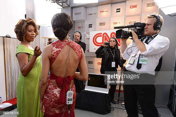 Actress Alfre Woodard and entertainment reporter Nischelle Turner attend the 19th Annual Screen Actors Guild Awards at The Shrine Auditorium on...