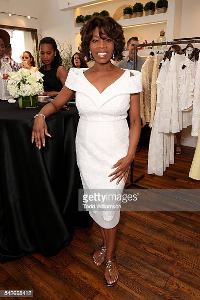 Actress Alfre Woodard attends the Badgley Mischka book signing to celebrate 'Badgley Mischka American Glamour' on June 23 2016 in Beverly Hills...