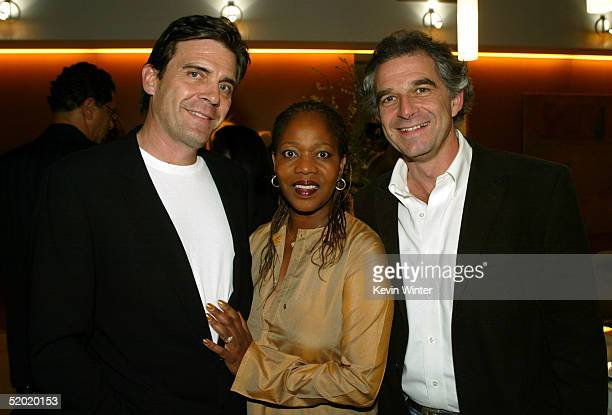 Actress Alfre Woodard her husband Roderick Spencer and Charles Castaldi are seen at the Revalations Studios Party on January 18 2005 in Santa Monica...