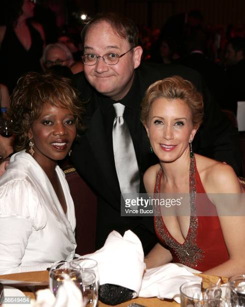 Actress Alfre Woodard producer Marc Cherry and actress Felicity Huffman pose in the audience during the 2006 Producers Guild awards held at the...
