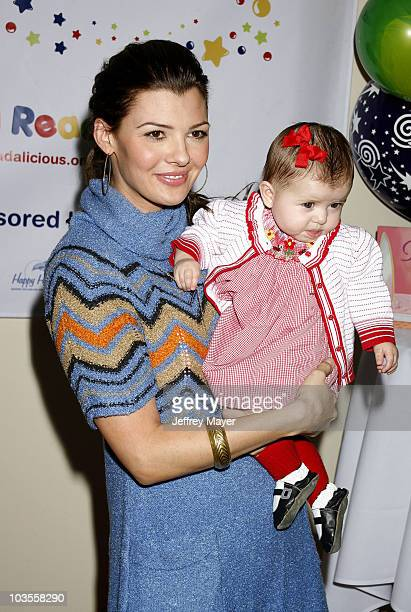 "Actress Ali Landry and daughter Estella pose during the Jayneoni Moore ""Readalicious"" Book Bash at the Century Plaza Hotel on March 1, 2008 in Los..."