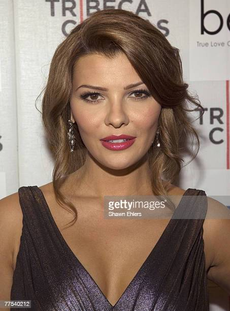 "Actress Ali Landry arrives at the at the ""Bella"" New York Premiere on October 25, 2007 at Tribeca Cinemas in New York City."
