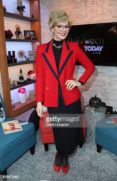 Actress Ali Landry poses as Sally Jessy Raphael for Halloween at Hollywood Today Live at W Hollywood on October 31 2016 in Hollywood California