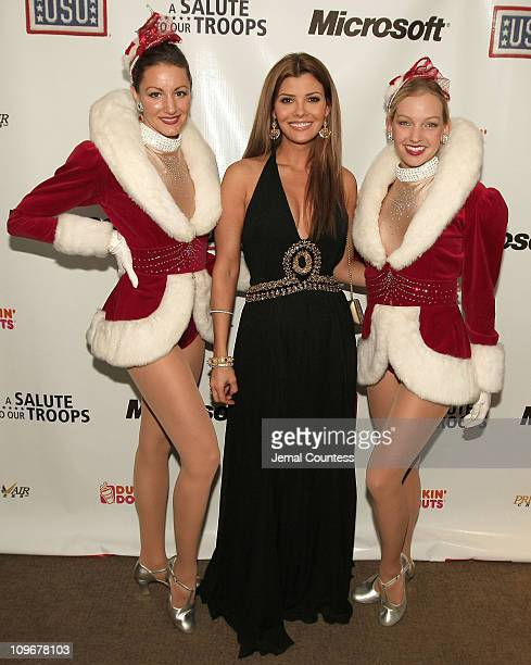 Actress Ali Landry with Rockettes attend A Salute To Our troops ceremony hosted by Microsoft Corporation and the United Service Organizations at The...