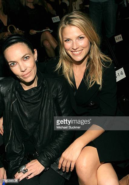 Actress Ali Larter and guest pose in the front row at the Imitation of Christ Fall 2007 fashion show during Mercedes Benz Fashion Week held at...