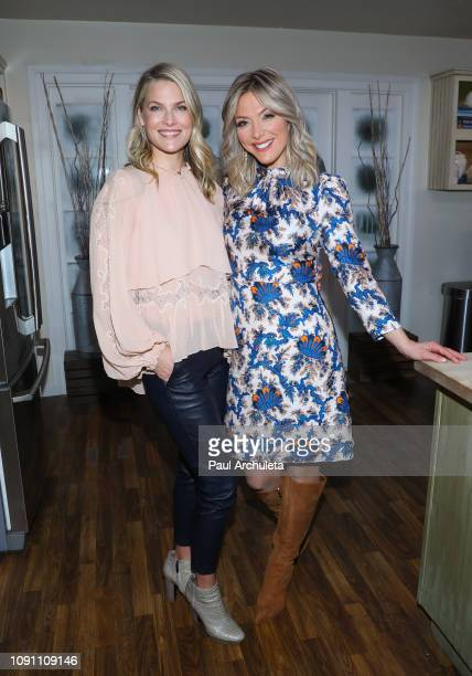 Actress Ali Larter and TV Host Debbie Matenopoulos on the set of Hallmark's Home Family at Universal Studios Hollywood on January 07 2019 in...