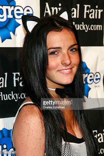Actress Ali Lohan attends the 8th annual Halloween pet costume party benefiting the Humane Society of New York at Mansion on October 27 2008 in New...