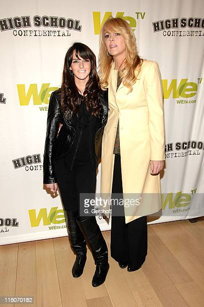 Actress Ali Lohan left with her mother Dina Lohan attend the High School Confidential New York screening at The Times Center on March 5 2008 in New...
