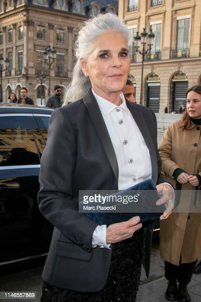 Actress Ali MacGraw attends the CHANEL J12 cocktail on Place Vendome on May 02 2019 in Paris France