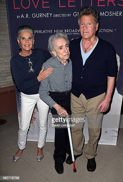 Actress Ali MacGraw director Arthur Hiller and actor Ryan O'Neal attend the curtain call for Love Letters at the Wallis Annenberg Center for the...