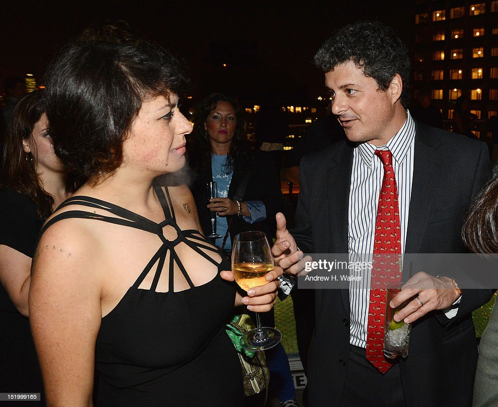 Actress Alia Shawkat and producer Anthony Bregman attend The Cinema Society with The Hollywood Reporter & Samsung Galaxy S III host a screening of 'The Oranges' After Party at Jimmy's at James Hotel on September 14, 2012 in New York City.