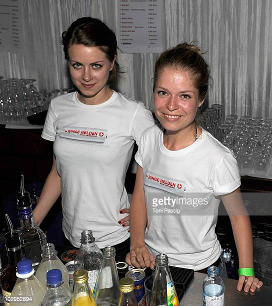 Actress Alice Dwyer and Luise Helm attend the 'Ein Spindler Klatt voller Junger Helden' Party at Spindler Klatt on July 17 2010 in Berlin Germany