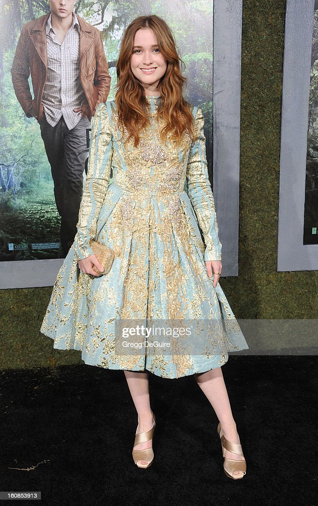 Actress Alice Englert arrives at the Los Angeles premiere of 'Beautiful Creatures' at TCL Chinese Theatre on February 6, 2013 in Hollywood, California.