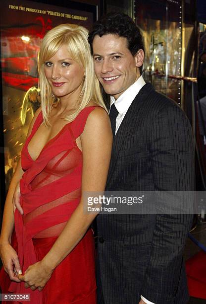 Actress Alice Evans and actor Ioan Gruffudd arrives at the European Premiere of 'King Arthur' at the Empire Leicester Square on July 15 2004 in London