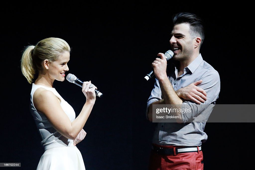 Actress Alice Eve (L) and actor Zachary Quinto speak at a Paramount Pictures presentation to promote their upcoming film, 'Star Trek Into Darkness' during CinemaCon at The Colosseum at Caesars Palace on April 15, 2013 in Las Vegas, Nevada.