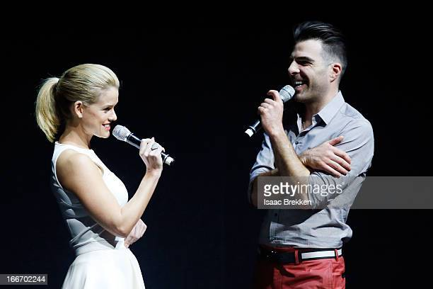 Actress Alice Eve and actor Zachary Quinto speak at a Paramount Pictures presentation to promote their upcoming film 'Star Trek Into Darkness' during...