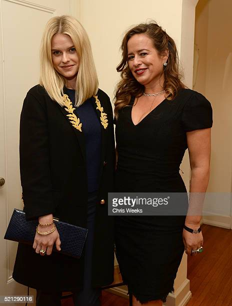 Actress Alice Eve and Jade Jagger attend the launch of Jade Jagger's new fine jewelry collection at Chateau Marmont on April 14 2016 in Los Angeles...