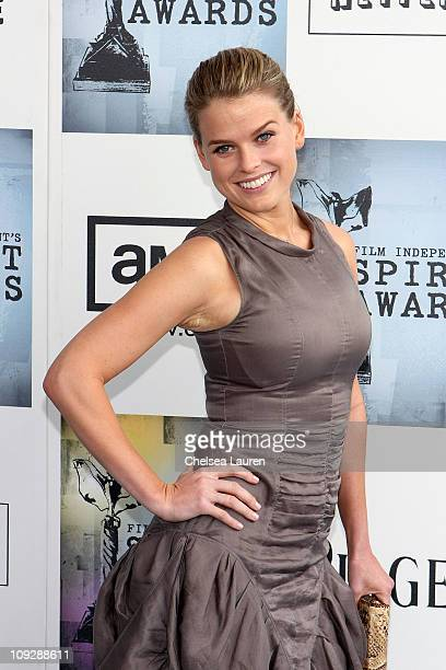 Actress Alice Eve attends the IndieVest Lounge at Film Independent's 2009 Spirit Awards held at the Santa Monica Pier on February 21 2009 in Santa...
