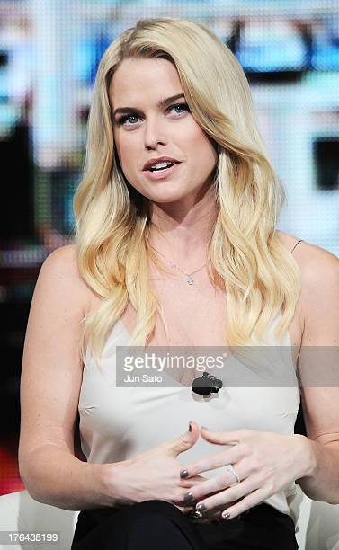 """Actress Alice Eve attends the """"Star Trek Into Darkness"""" press conference at Nicofarre on August 13, 2013 in Tokyo, Japan."""