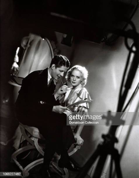 Actress Alice Faye and Rudy Vallee in a scene from the movie George White's 1935 Scandals
