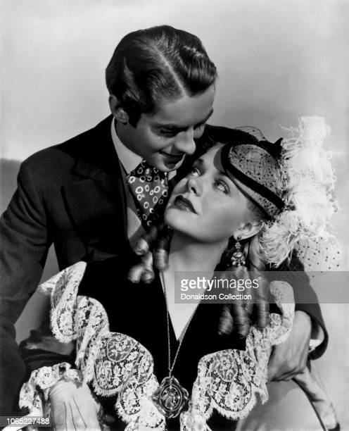 Actress Alice Faye and Tyrone Power in a scene from the movie In Old Chicago