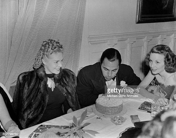 Actress Alice Faye attends a birthday party in Los Angeles California