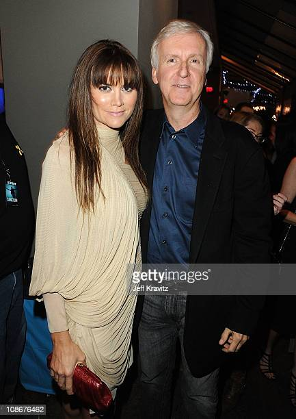 Actress Alice Parkinson and executive producer James Cameron attend the Los Angeles premiere of 'Sanctum' after party at The Highlands on January 31...