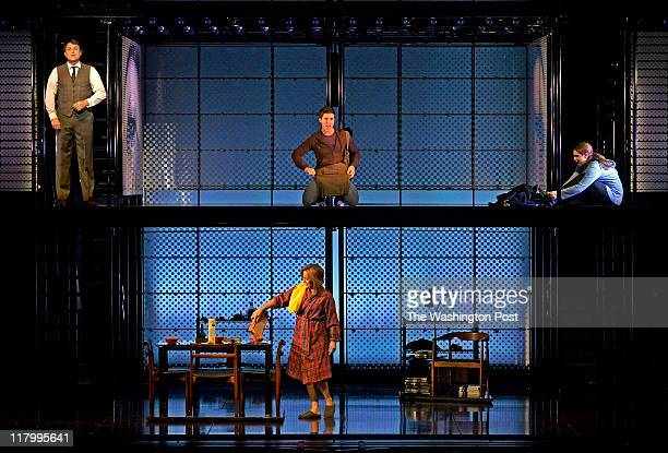 Actress Alice Ripley bottom performing in Next to Normal at the Kennedy Center with from left on top Asa Somers Curt Hansen and Emma Hunton on June...