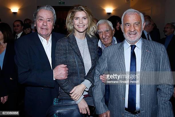 Actress Alice Taglioni Actor Alain Delon Actor Charles Gerard and Actor JeanPaul Belmondo attend the 70 th Anniversary of 'Prix du Quai des Orfevres'...