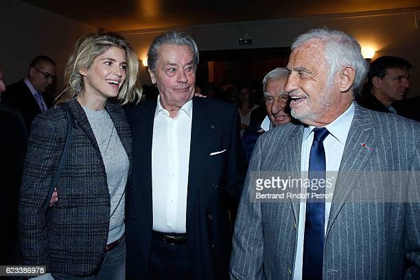 Actress Alice Taglioni Actor Alain Delon and Actor JeanPaul Belmondo attend the 70 th Anniversary of 'Prix du Quai des Orfevres' at 36 quai des...