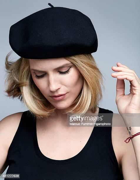 Actress Alice Taglioni is photographed for Madame Figaro on April 7 2016 in Paris France Beret tank top Makeup by Nars Cosmetics PUBLISHED IMAGE...