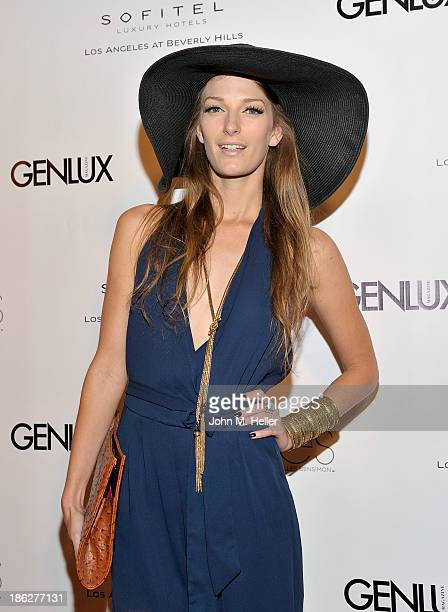 Actress Alicia Barrett attends Genlux Magazine's Hosting of Photographer Gilles Bensimon's portraits at the Sofitel Hotel on October 29 2013 in Los...