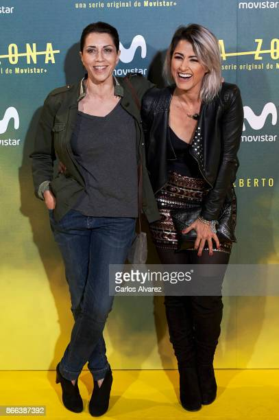 Actress Alicia Borrachero and singer Barei attend 'La Zona' premiere at the Capitol cinema on October 25 2017 in Madrid Spain