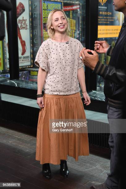 Actress Alicia Goranson visits 'Extra' at R Lounge at the Renaissance Hotel on April 9 2018 in New York City