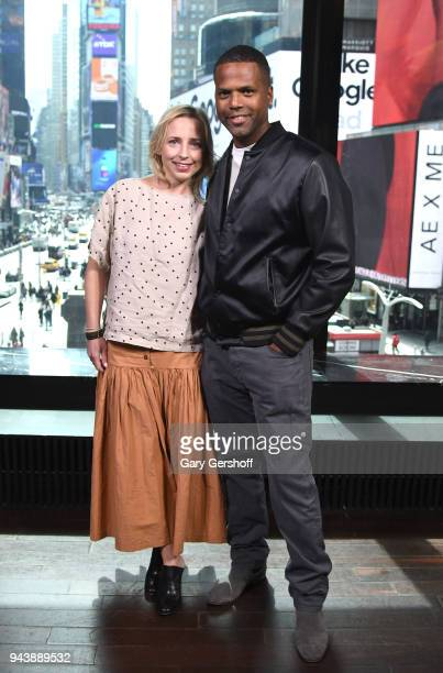 Actress Alicia Goranson visits 'Extra' with host AJ Calloway at R Lounge at the Renaissance Hotel on April 9 2018 in New York City