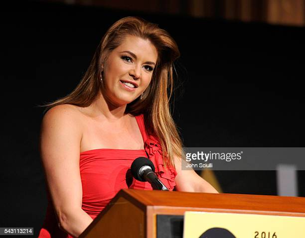 Actress Alicia Machado speaks onstage during the NALIP 2016 Latino Media Awards at Dolby Theatre on June 25 2016 in Hollywood California